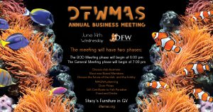 Annual Business Meeting, June 14th. @ Stacy's Furniture in GV